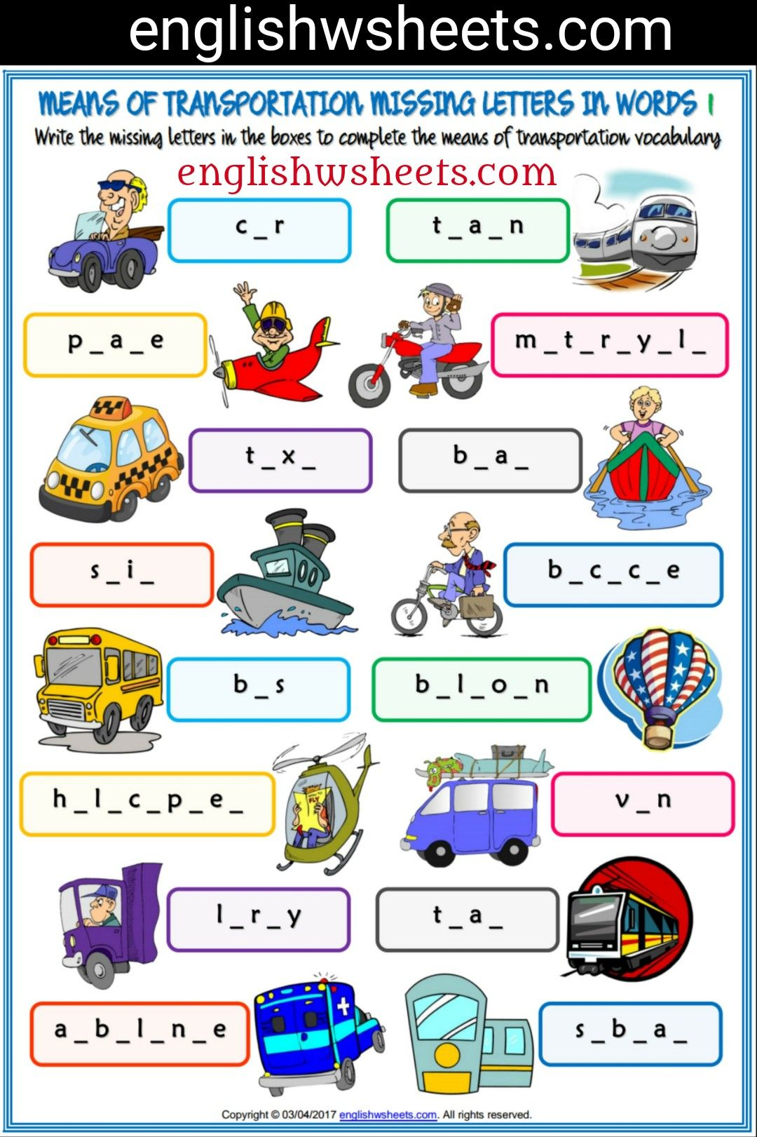 Means Of Transportation Esl Printable Missing Letters In Words Worksheet For Kids Means