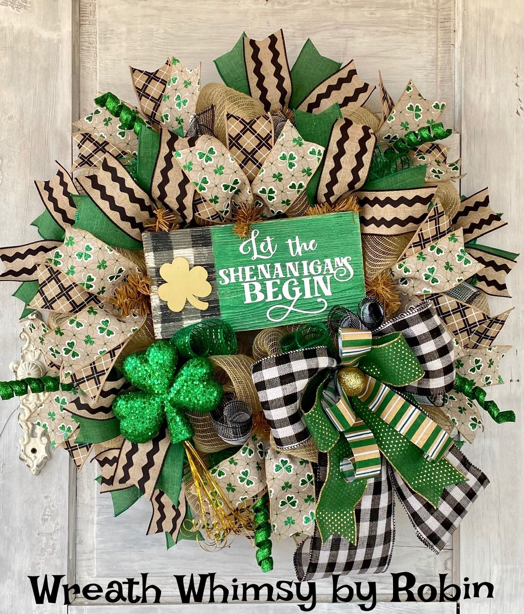 Saint Patrick's Day Wreath, Door Wreath, Irish Wreath, St