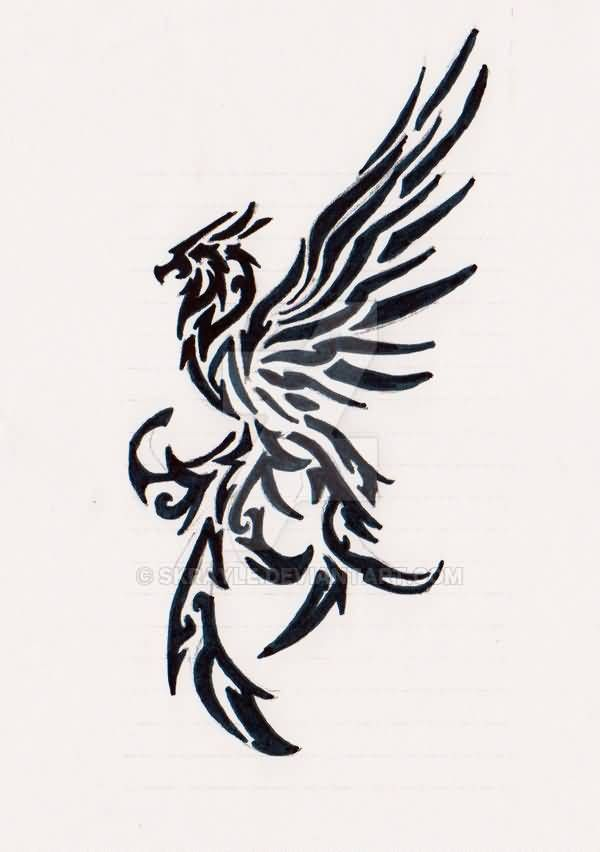 Awesome Flying Tribal Bird Tattoo Sample By Skrayle Tribal Bird Tattoos Phoenix Bird Tattoos Tribal Tattoos