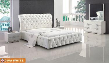 Diva White diva Designer bedroom set w/ tufted button design ...