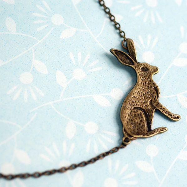 Asymmetrical Bunny Rabbit Necklace at shanalogic.com