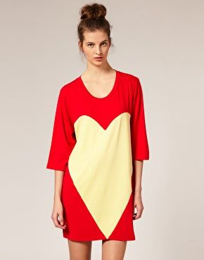 Louise Gray for ASOS T-shirt dress with heart panel.