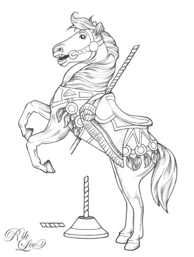 Carousel Horse Drawings Carousel C Rik Leehere S A Carousel Horse I Sketched Up For A Horse Coloring Pages Horse Coloring Animal Coloring Pages