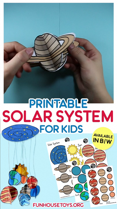 Craft this easy solar system with your kids at home with supplies that you probably already have at hand. This printable is a great way to teach your child or your class about our planet and the surrounding universe while making a cool craft that you can display all year long! #solarsystem #easycraftingforkids #earth #kidsprintable #kidscraft #craftingforkids #preschool #kindergarten #teacher #1stgrade #craftsolarsystem #activitiesforkids #learningwithkids #handsonlearning #educationalprintable