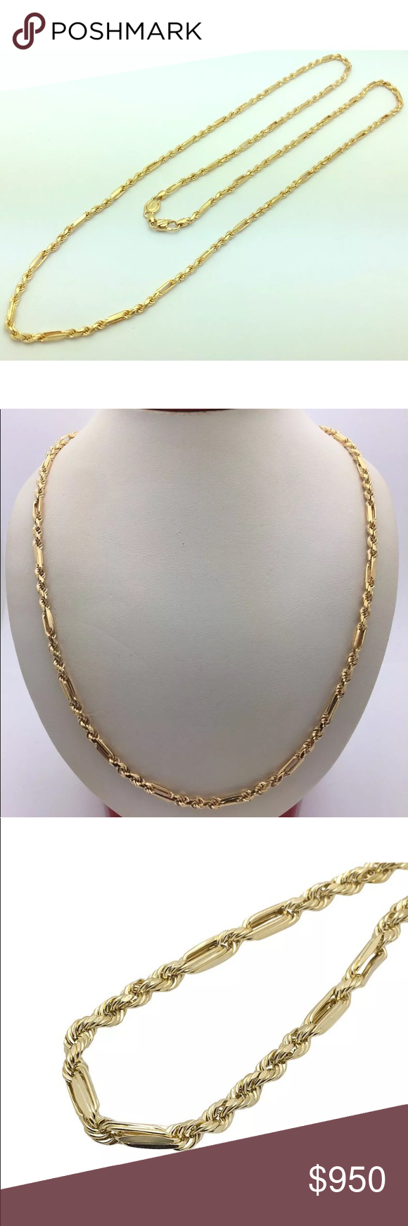 Solid Gold Milano Rope Chain 5mm Thick 24 Inches Rope Chain Solid Gold Gold