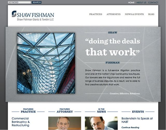 Shaw Deals that work Legal Website home page Law firm marketing - law firm brochure