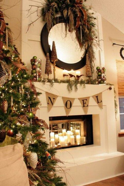 Pin by Cathy Hawthorne on Pretty fire places Pinterest Nice - christmas decorations for mantels