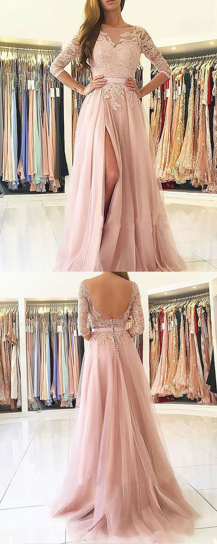 Bateau pink appliqued chiffon slit long prom dress with length
