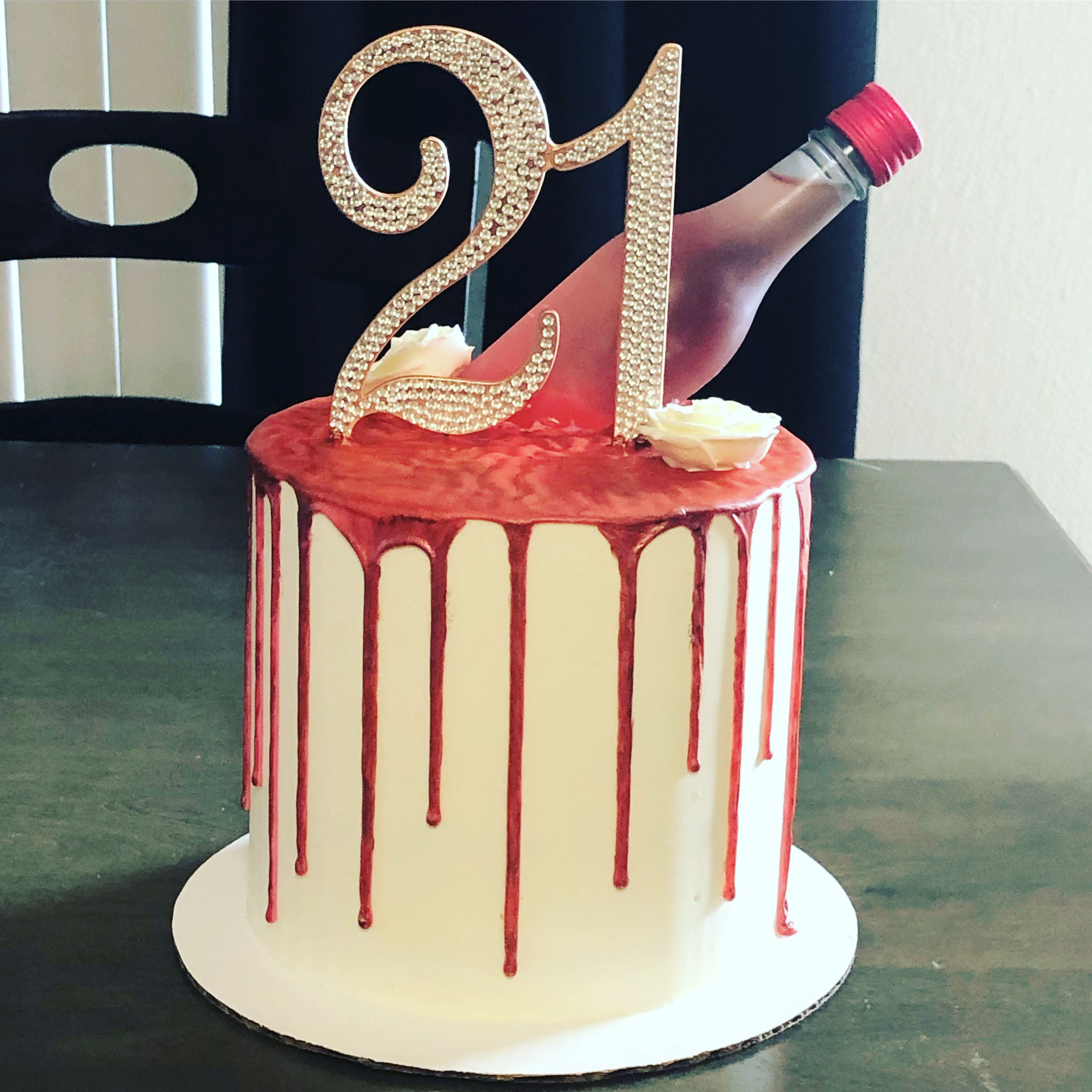 21st Birthday Cake With Insert Wine Bottle In 2020 21st Birthday Cake Cake Birthday Cake