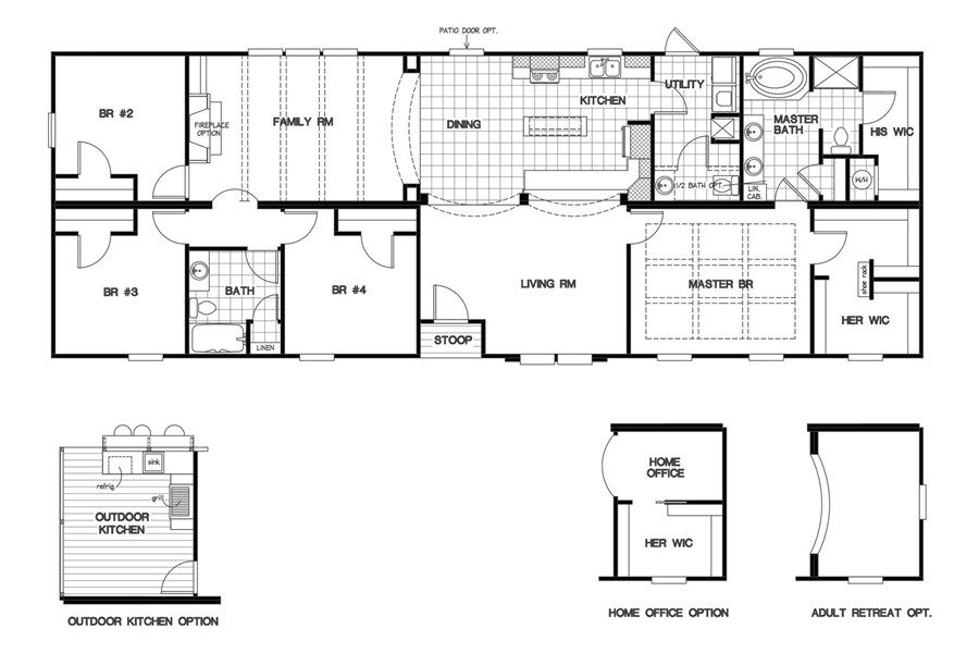 Oakwood Homes Floor Plans floorplan 3321 76x28 ck4+2 classic mod | 58cla28764cm | oakwood