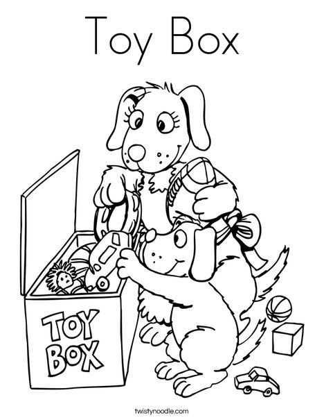 Toy Box Coloring Page Twisty Noodle Coloring Pages For Kids
