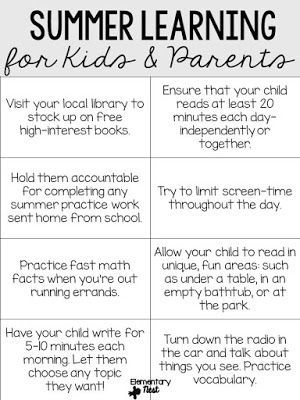 Easy Ways To Prevent The Summer Slide  Parents Teacher And Students