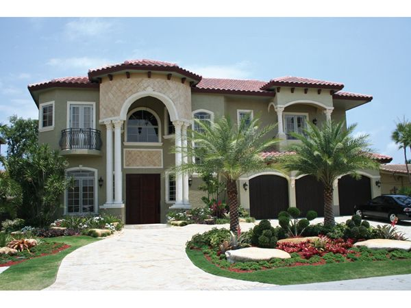 I Love Mediterranean Style Homes I Also Like Circle Driveways And Palm Trees Mediterranean House Plans Mediterranean Homes