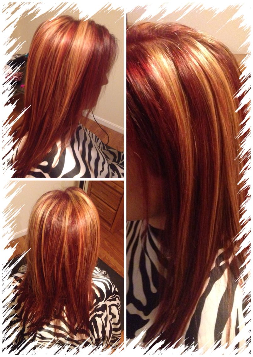 all over red with chunky blonde highlights | My hair ...