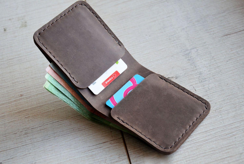 Men's Leather Wallet Bifold Wallet Groomsmen Gift Man by Handor