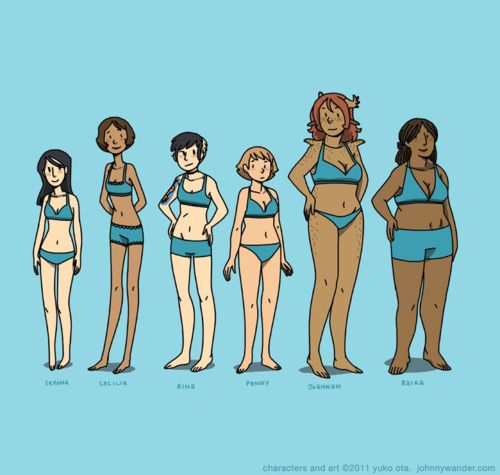 All Women Are Different And Beautiful Cartoon Body Cartoon Styles Body Type Drawing