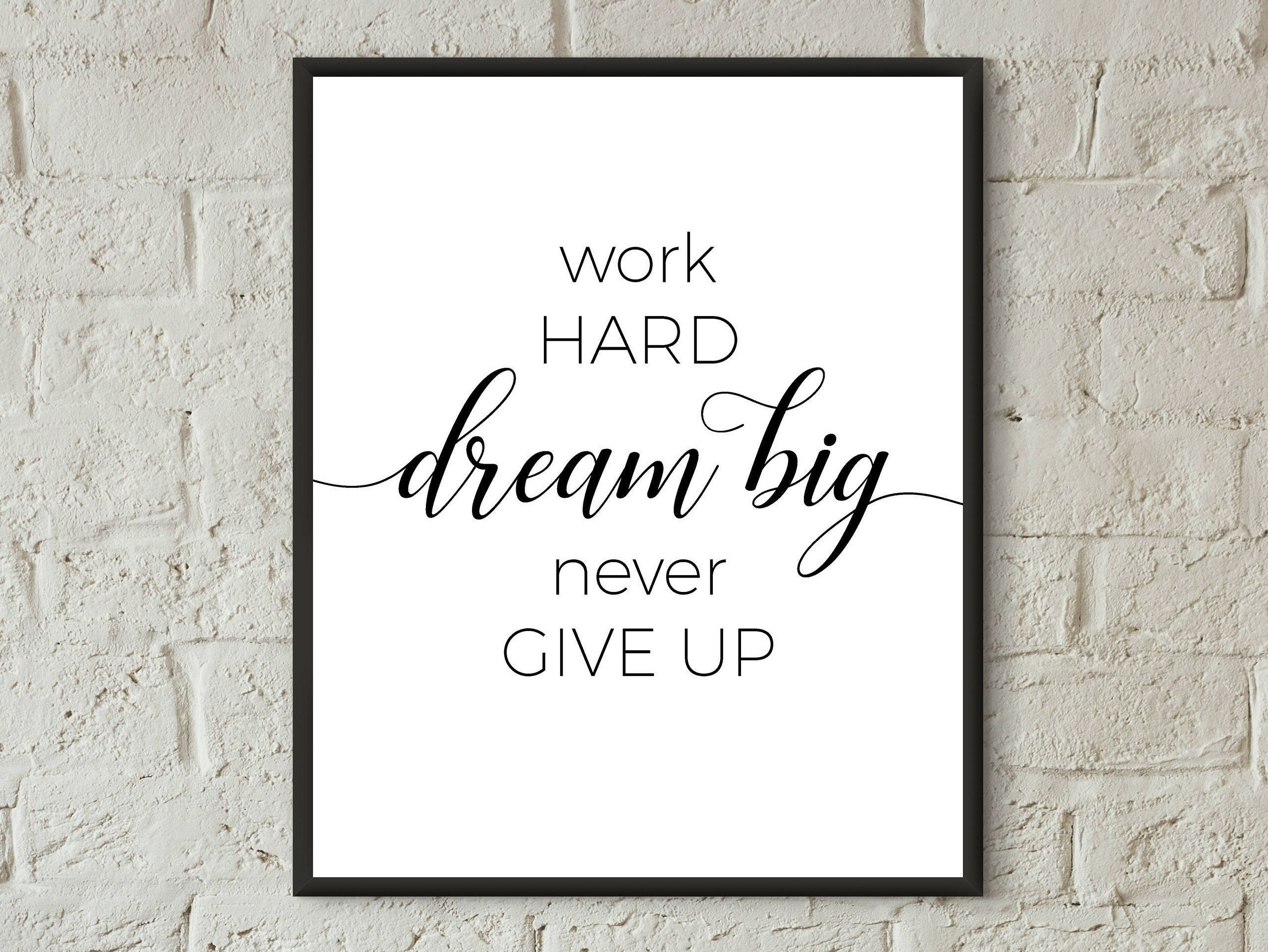 Work Hard Quotes Wall Art Motivational Poster Office Decor Dorm Printable