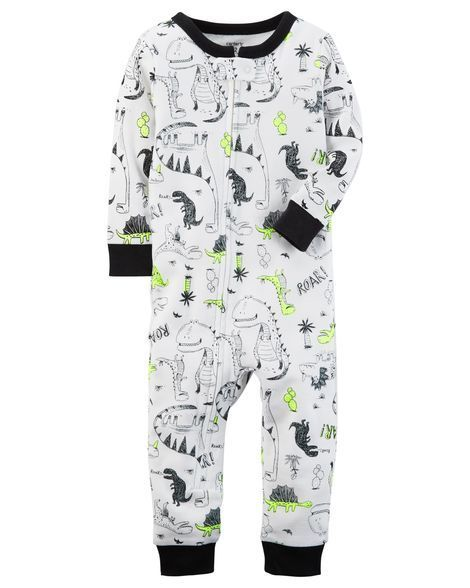 0a1b4a3bd 1-Piece Neon Dinosaur Snug Fit Cotton Footless PJs