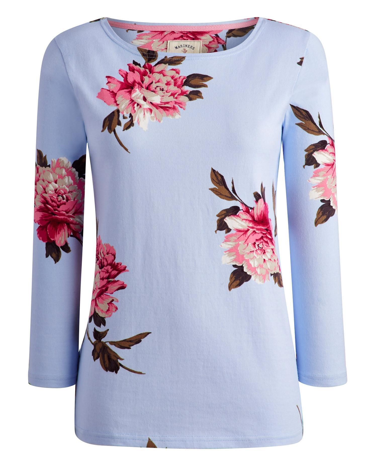 Sky Blue Peony Harbourprint Womens Printed Jersey Top | Joules UK