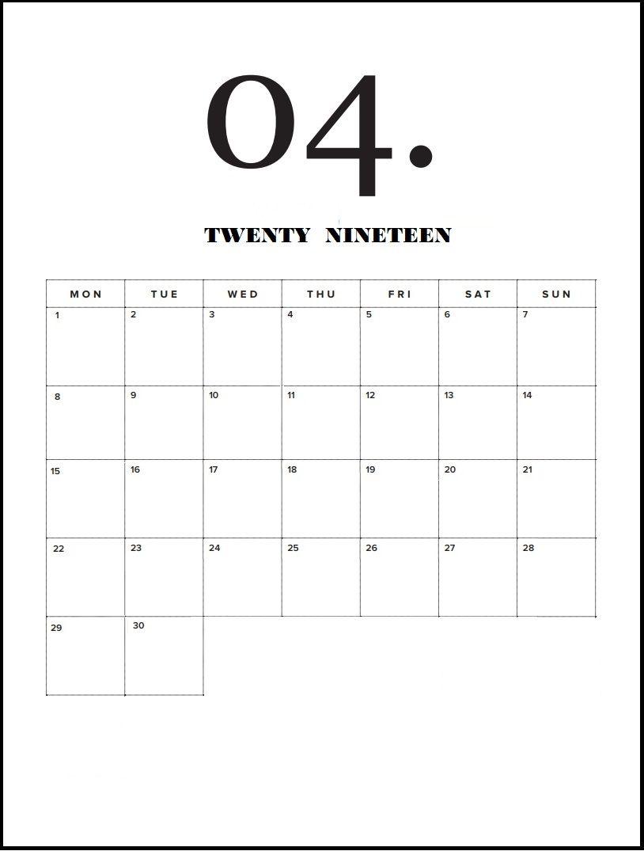December 2019 Calendar Modern Modern Minimal April 2019 Calendar | calendar 2019 | Print