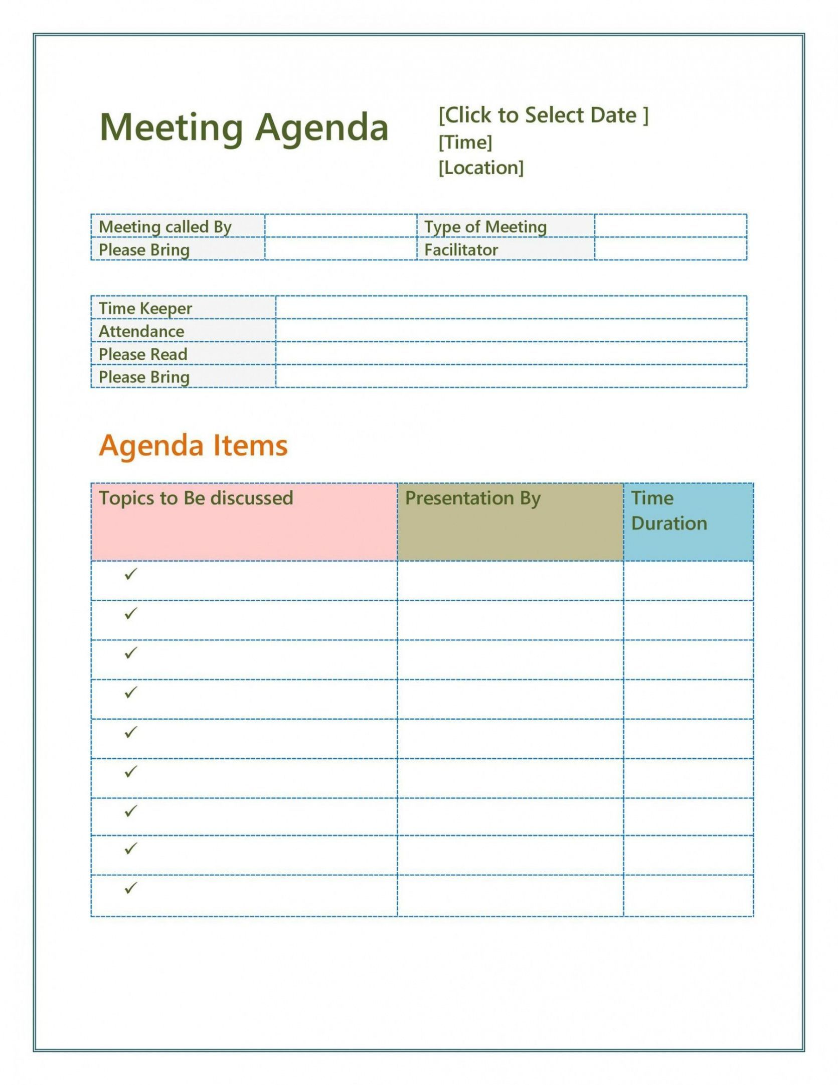 Meeting Agenda Template Word Free Agenda For A Meeting
