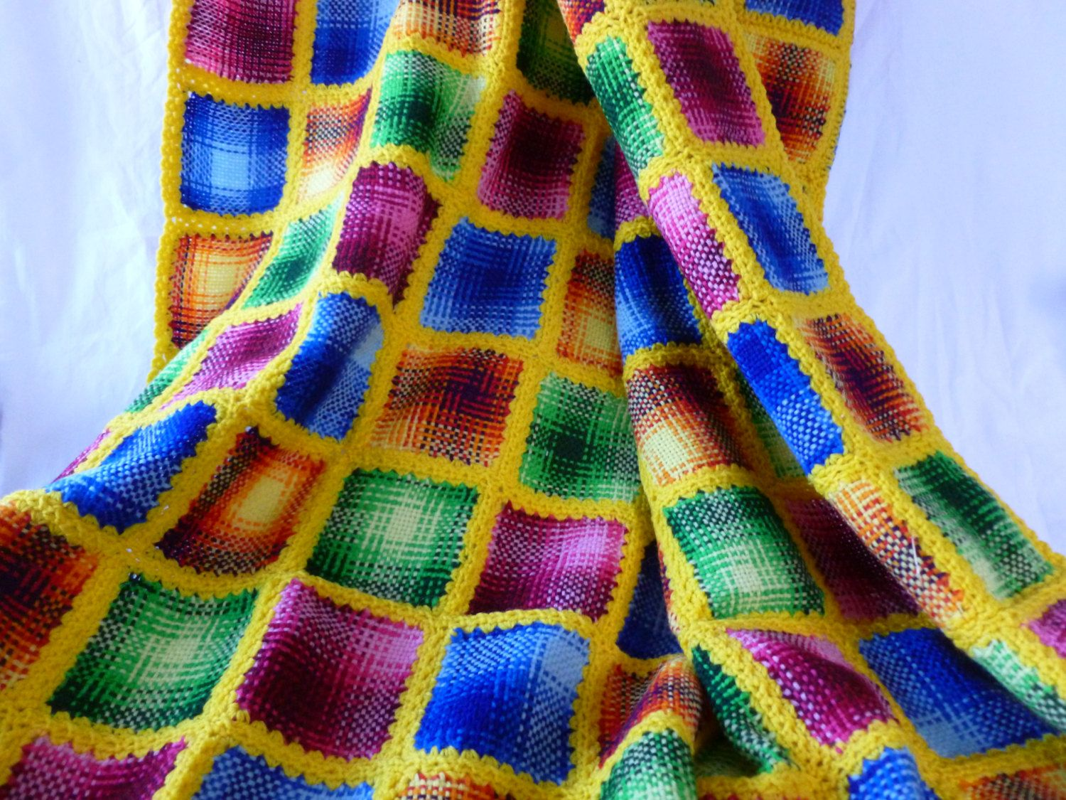 Colorful Throw Blankets Awesome Vintage Hand Crochet And Woven Granny Square Afghan Colorful Throw Design Decoration