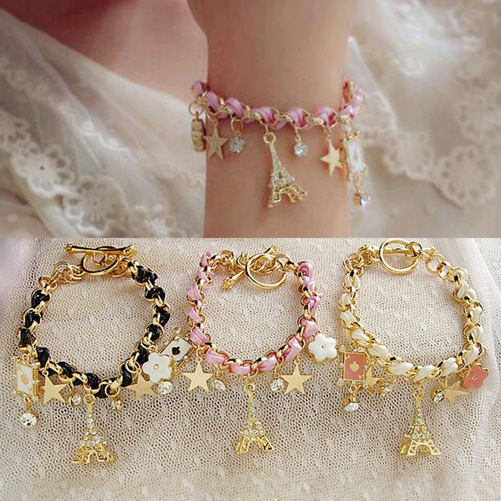 New hot sell fashion jewelry multielement gold chain leather rope