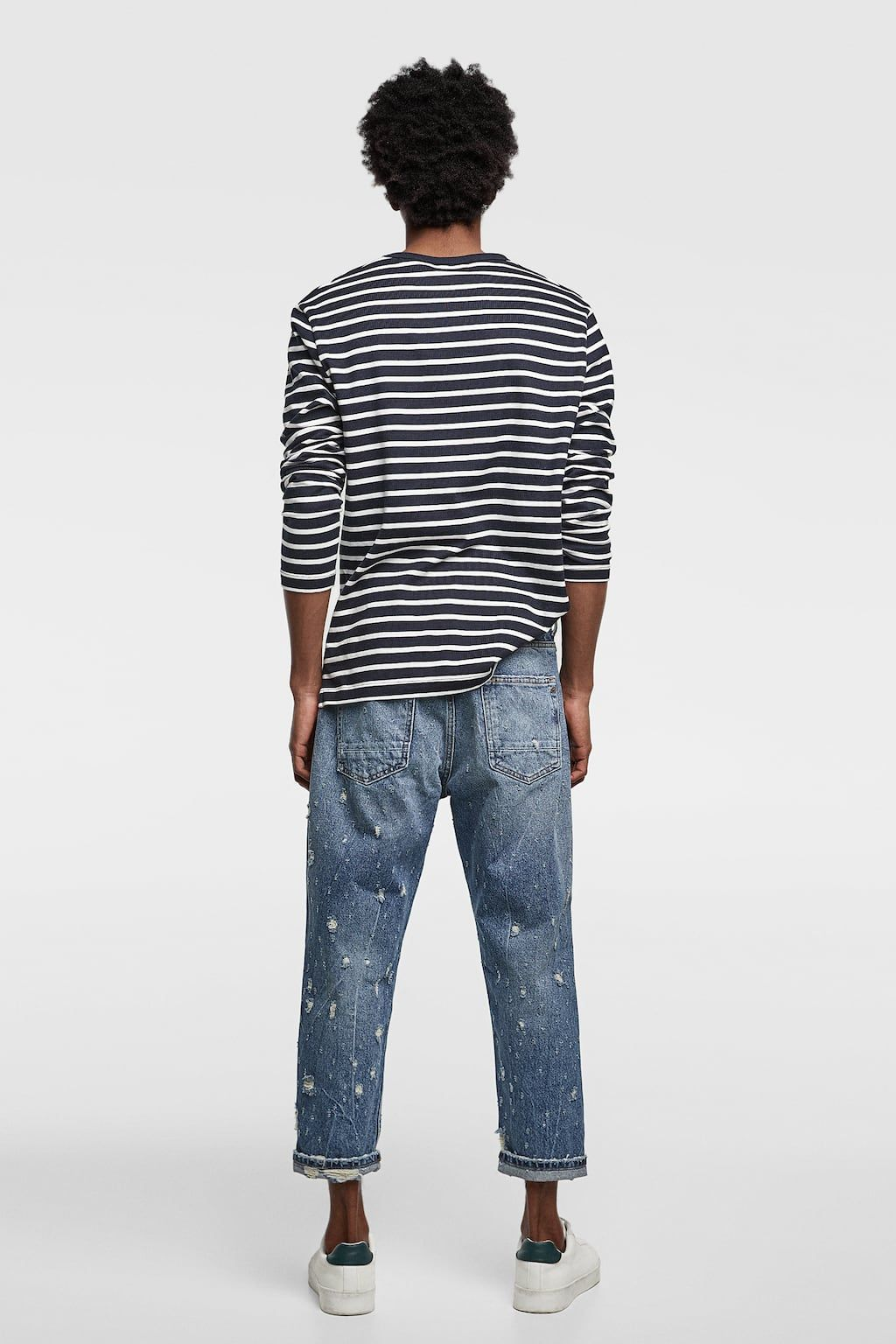Image 3 of cropped loose fit jeans from zara