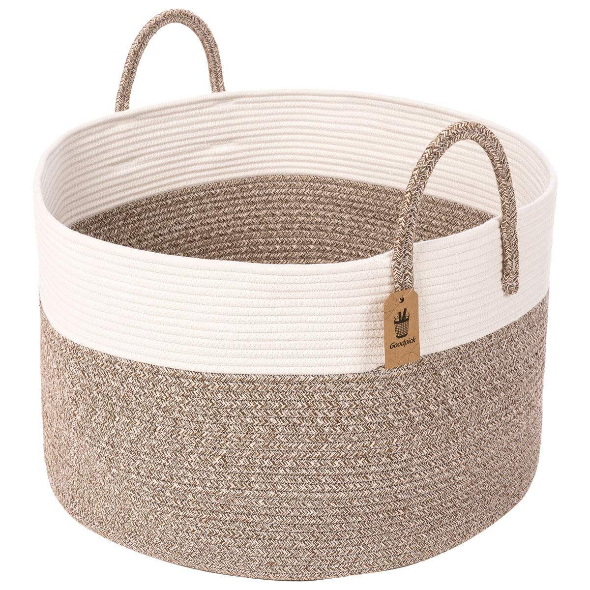 Blanket Basket Gray Laundry Basket Oblong Design INDRESSME XXX Large Rope Basket Woven Storage Basket Pillow
