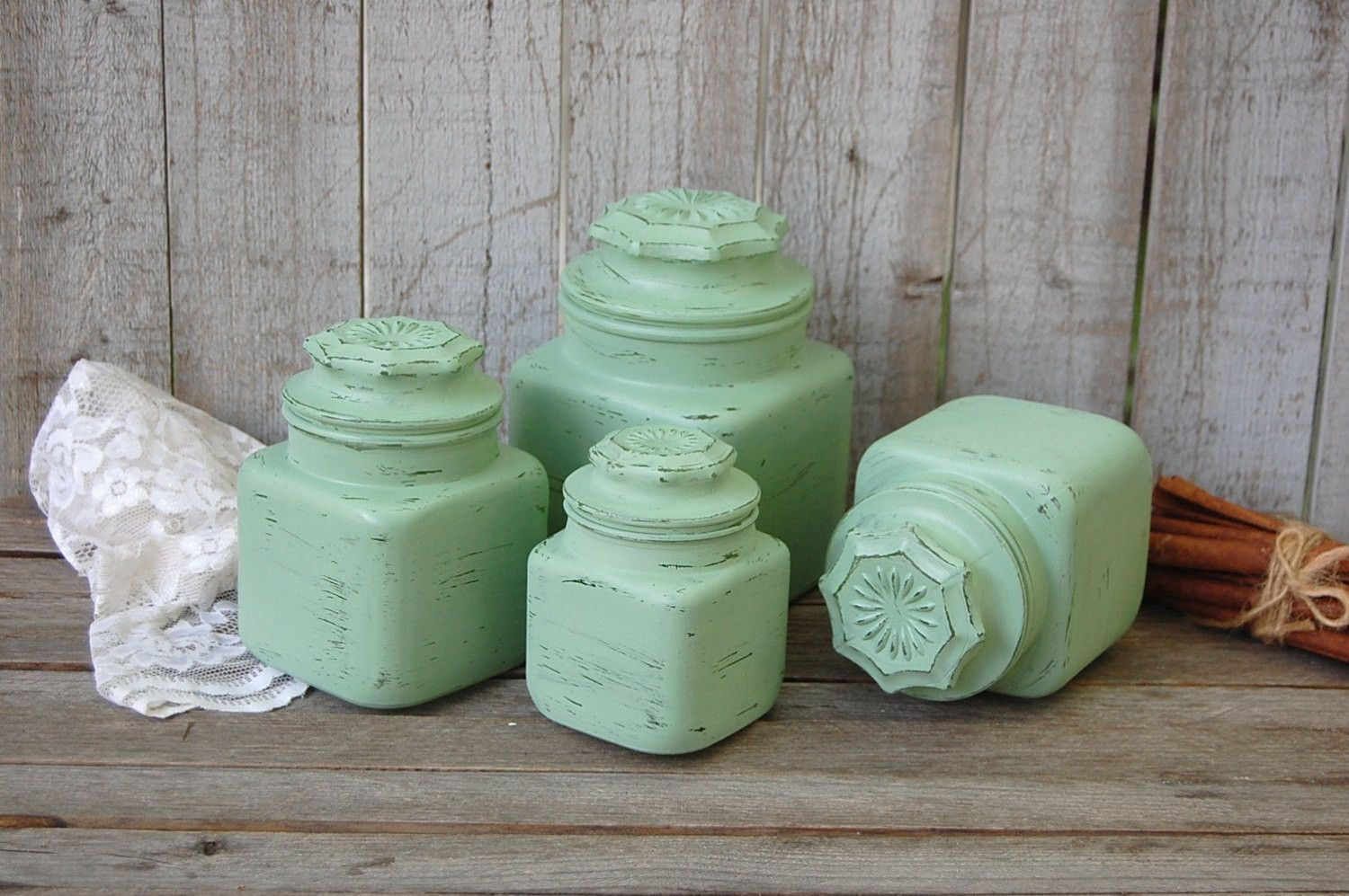 Kitchen canisters glass  Shabby chic kitchen canister set  Products  Pinterest  Kitchen