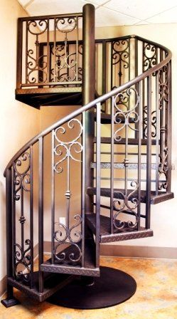 Superb Wrought Iron Spiral Staircase   Leading Up To The Deck