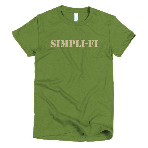Ladies tee - SIMPLI-FI (tan letters)