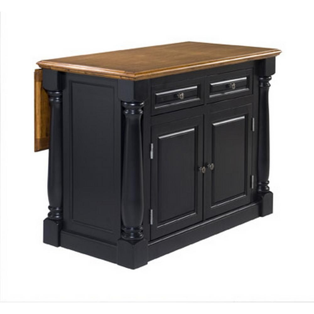 Homestyles Monarch Black And Oak Kitchen Island 5008 94 The Home Depot Kitchen Island With Seating Antique Kitchen Island Black Kitchen Island