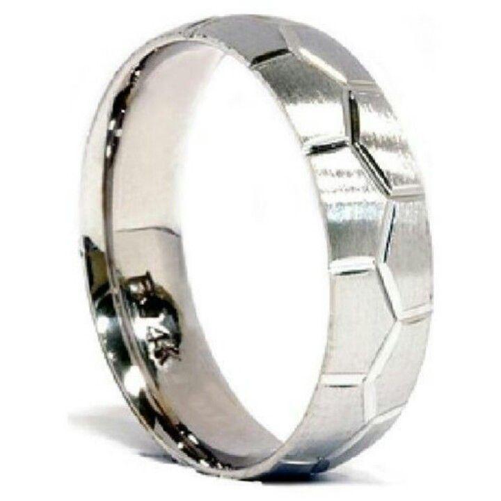 Soccer Ball Design Mens White Gold Brushed Wedding Ring Band Bridal For Randy