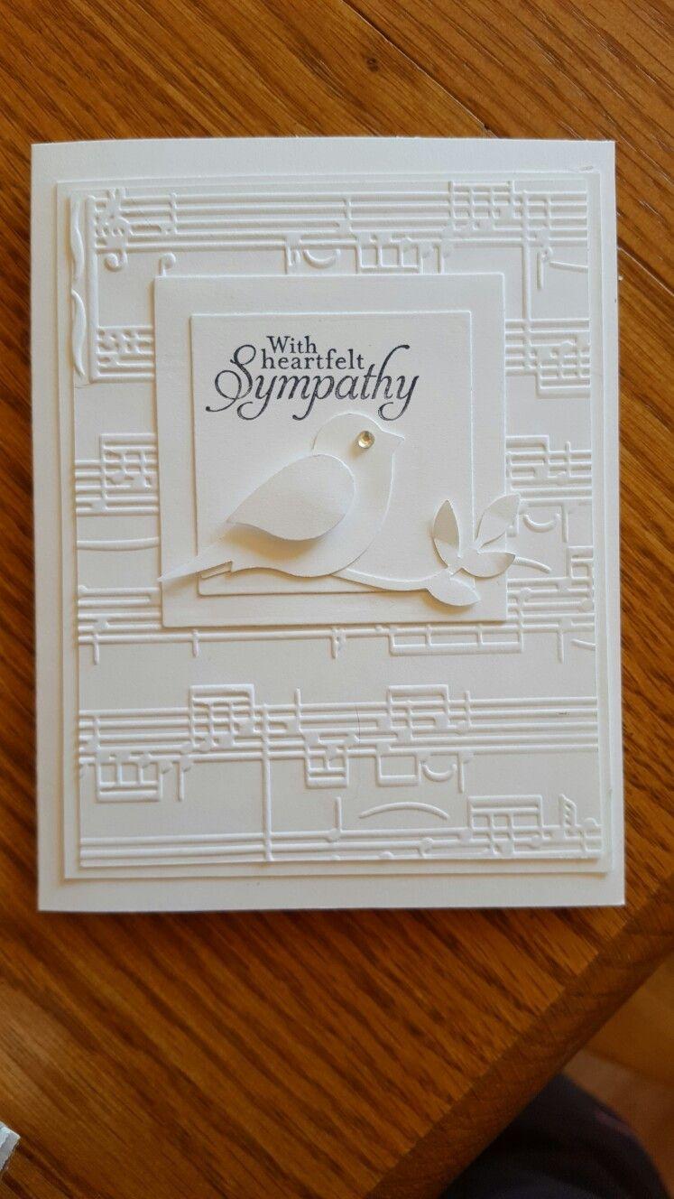 Handmade Sympathy Card White On White Embossing Folder Sheet