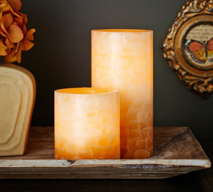 Pottery Barn Flameless Candles Fascinating Flameless Crackle Gold Pillar Candle  Pottery Barn Flameless