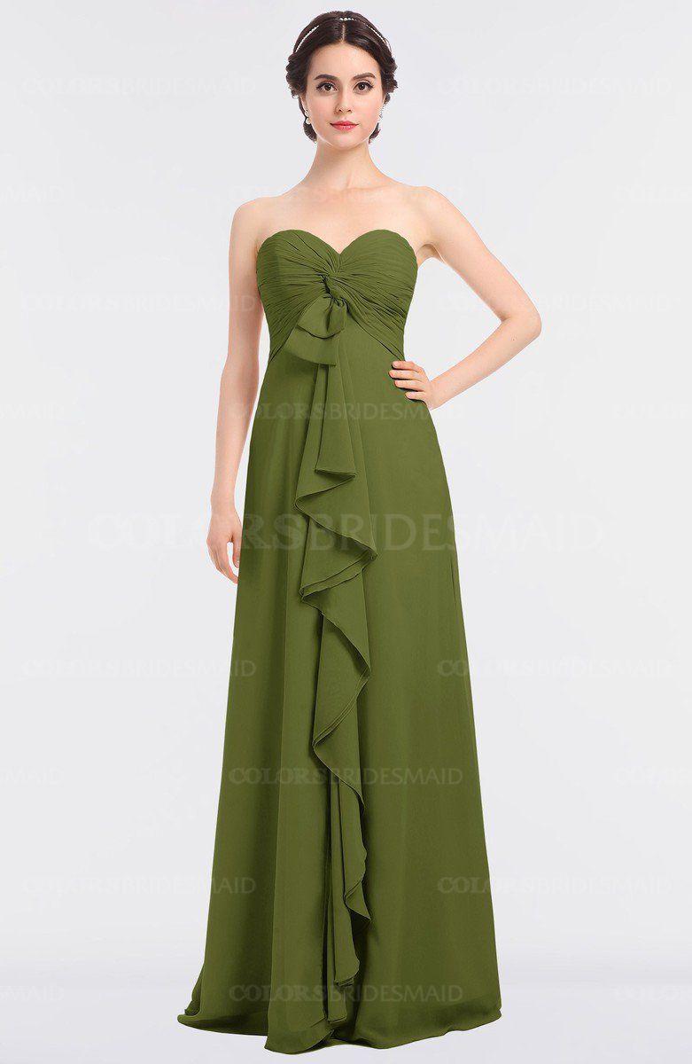 Olive green elegant aline strapless sleeveless ruching bridesmaid