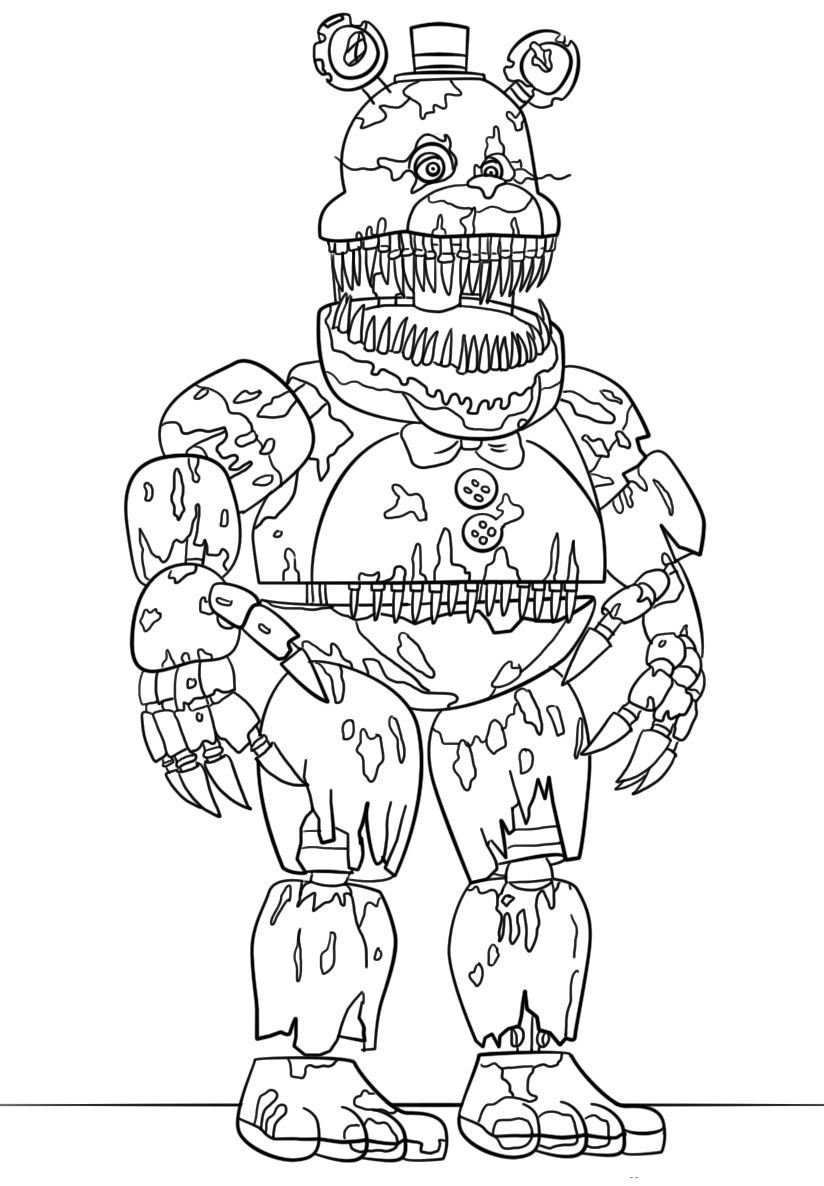 Monster image with fnaf coloring pages printable