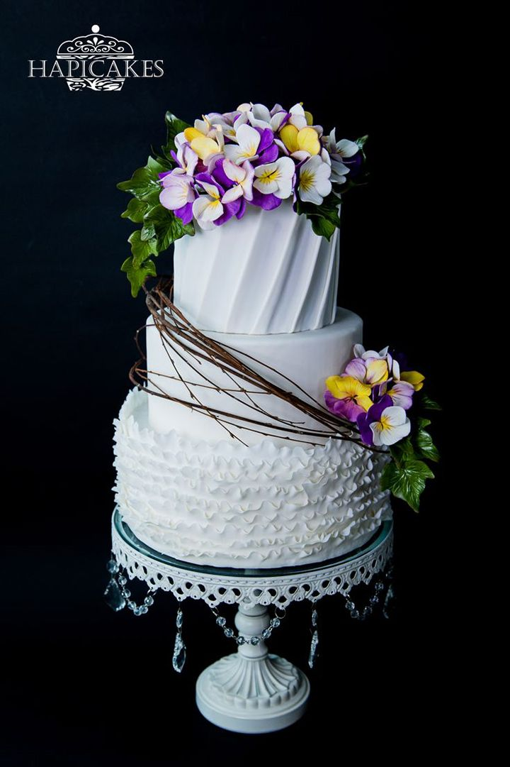 3 layer white wedding cake with purple pansies ~ we ❤ this! moncheribridals.com