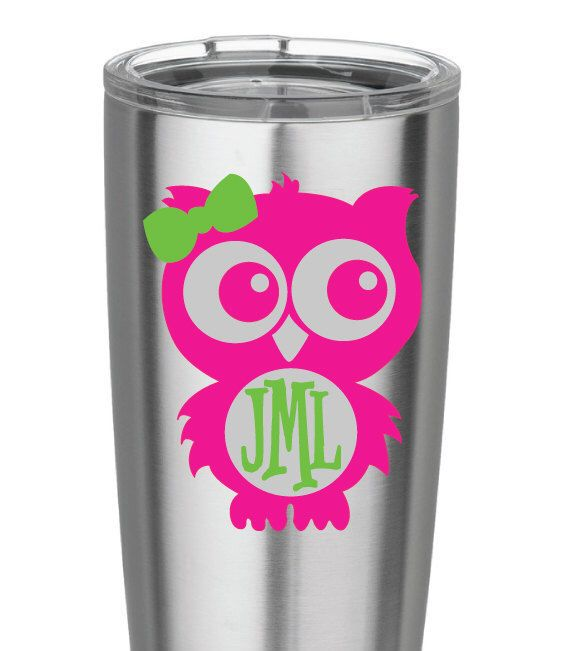 Pink And Green Owl Monogram Vinyl Decal For Yeti Cups Car IPads - Owl custom vinyl decals for car