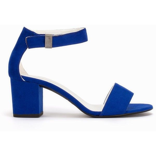 e2a19b1d3b Nly Shoes Mid Block Heel Sandal ($44) ❤ liked on Polyvore featuring shoes,  sandals, ankle strap shoes, velcro shoes, velcro strap shoes, round cap и  block ...