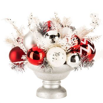 Ornament Arrangement In Pedestal Bowl Christmas Pinterest Classy Decorative Balls For Bowl Hobby Lobby