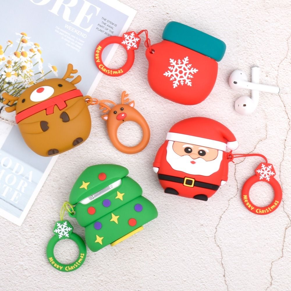 6 29 Airpods Case Christmas Silicone Soft Lovely Pattern Portable For Airpods1 Amp Airpods2 Airpods Charging Case Not Included Earphone Case Cute Phone Cases Soft Silicone