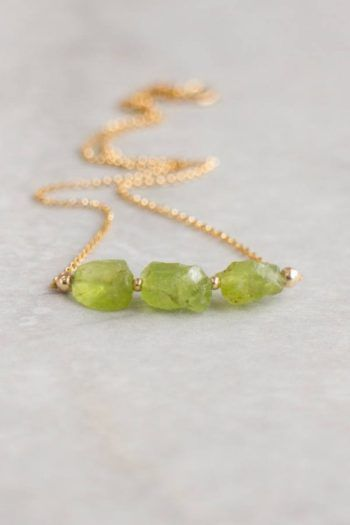 Photo of For Sale: Raw Peridot Necklace 3 Wishes Necklace Raw Crystal…