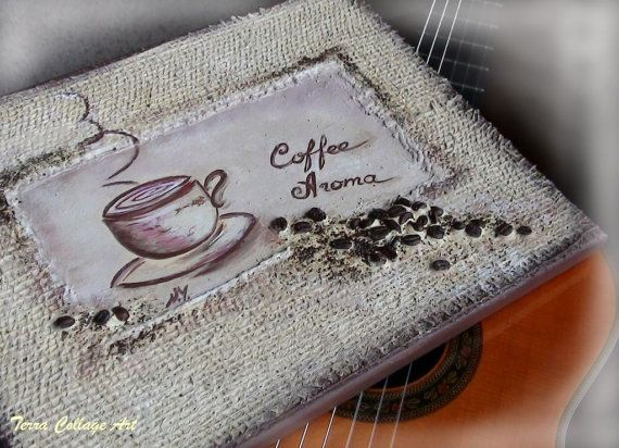 Coffee Aroma 11x14in Original Mixed Media Art by TerraCollageArt, $42.00