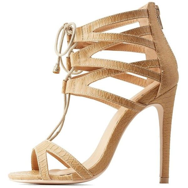 a9863bdc6fd Charlotte Russe Caged Lace-Up Dress Sandals ( 23) ❤ liked on Polyvore  featuring shoes