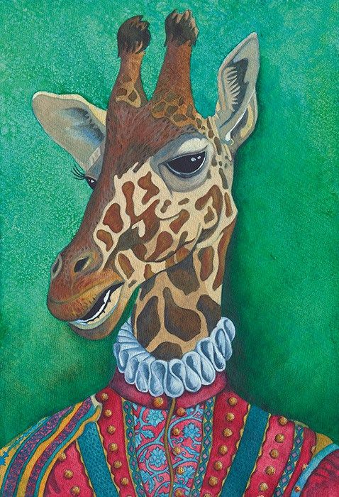 Animal Clothes Anthropomorphism Watercolor Paint Fine