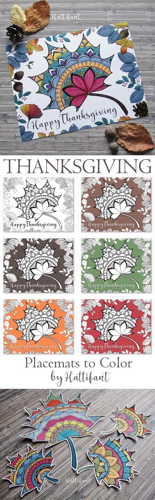 Hattifant\'s Thanksgiving Mandala Autumn Leaf Coloring Page Printable ...