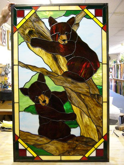 Baby Bears Stained Glass Wildlife Stained Glass Art