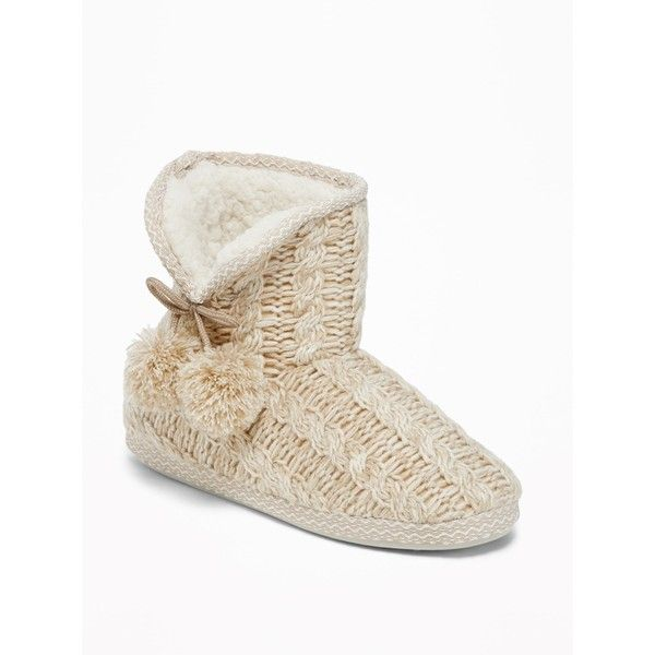 Cable Knit Slipper Booties For Women 17 Aud Liked On Polyvore